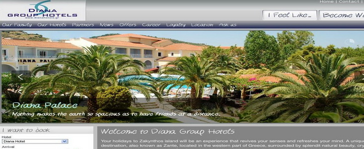 Diana Hotels website home page